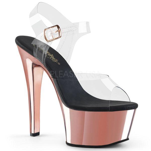 Durchsichtige Riemchen Sandalette mit rose gold Chrom Plateau ASPIRE-608